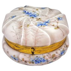 Wavecrest C F Monroe 7 inch Victorian Art Glass Powder Box Large Size