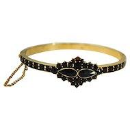 Victorian Gold Filled Bohemian Garnet Hinged Bangle Bracelet