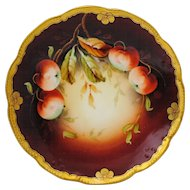 Hand Painted Artist Signed Pickard China Plate with Apples