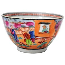 """Antique New Hall  """" Boy in the Window """" Tea Bowl"""