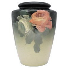 Large Weller Eocean Vase with Roses American Art Pottery