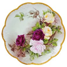 Limoges 13 inch Charger or Plate with Hand Painted Red Pink & Yellow Roses