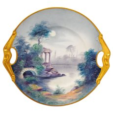 Pickard Hand Painted Moonlit Roman Ruins Scenic Handled Plate by Marker