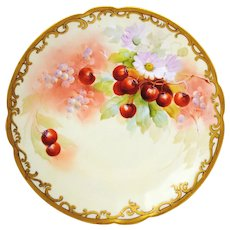 Hand Painted 12.5 inch Pickard Charger or Plate with Cherries Artist Signed