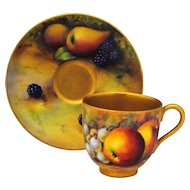 Royal Worcester Hand Painted Artist Signed Fruit Decoration Demitasse Cup & Saucer