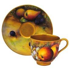 Royal Worcester Hand Painted Artist Signed Fruit Decoration Demitasse Cup & Saucer