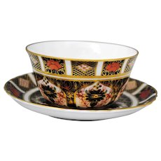 Royal Crown Derby Old Imari 1128 Sauce Whipped Cream or Mayo Bowl & Tray