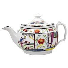 New Hall 19th Century English Porcelain Asian Oriental Style Teapot