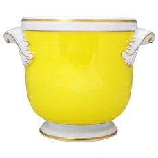 Mottahedeh Vista Alegre Yellow White and Gold Flower Cache Pot Jardiniere