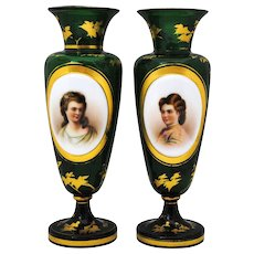 Pair of Moser Style Bohemian Victorian Art Glass Portrait Vases