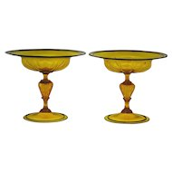 Pair of Venetian Amber Art Glass Compotes with Black Trim Murano Italian