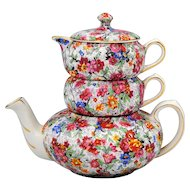 Lord Nelson Marina Chintz Stacking Teapot Creamer & Sugar