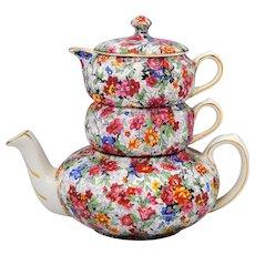 Lord Nelson Marina Chintz Stacking Teapot Creamer & Sugar