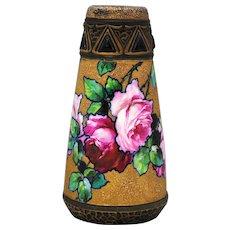 Antique Turn Teplitz Austrian Art Pottery Vase Roses Ernst Wahliss Jugendstil  Amphora