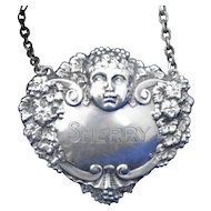 British Sterling Silver Sherry Liquor Bottle Tag or Label Cherub or Bacchus Face