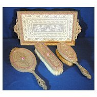 E & JB Empire Art Gold Jeweled Dresser Vanity Set Mirror, Tray & 2 Brushes
