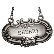 American Sterling Silver Sherry Bottle Tag Label