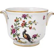 Limoges France Porcelain Flower Cache Pot Jardiniere Exotic Bird & Flowers