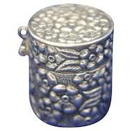 Sterling Silver Floral Repousse Chatelaine Thimble or Pill Box