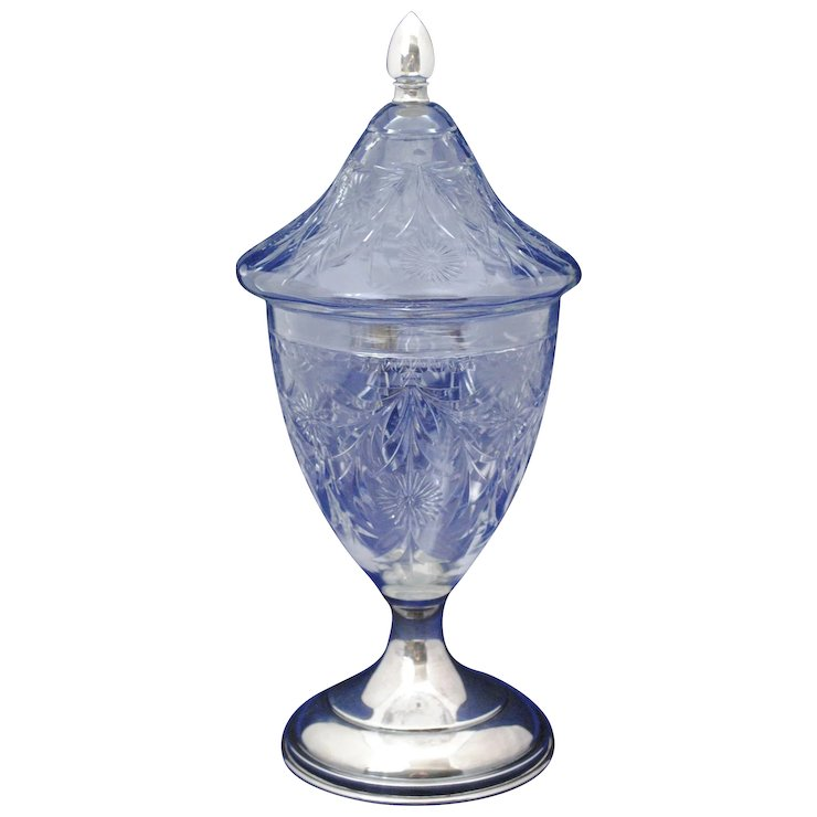 wheel cut engraved glass candy jar with sterling silver finial and
