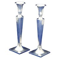 Pair of Cartier Weighted Sterling Silver Candlesticks