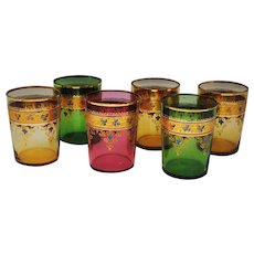 Set of 6 Signed Moser Enameled Art Glass Tumblers