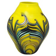 Charles Lotton Contemporary Art Glass Vase Blue Pulled Feather on Yellow 1980