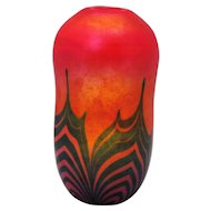 Charles Lotton Contemporary Art Glass Vase Blue Pulled Feather on Red 1974