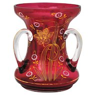 Cranberry Enamel & Gold 3 Handle Loving Cup Art Glass Vase