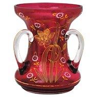 Cranberry Enamel & Gold 3 Handle Loving Cup Art Glass Vase