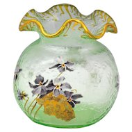 Mont Joye French Cameo Art Glass Vase with Violets