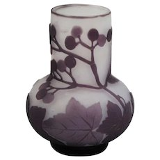 Galle French Cameo Art Glass Cabinet Vase Purple cut to Frosted Clear Ground
