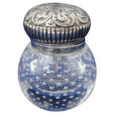 American Art Glass Controlled Bubble Inkwell with Sterling Silver Top by B & F