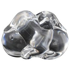 Steuben Crystal Puppies Cuddling Hand Cooler Paperweight