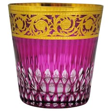 St. Louis Crystal Cranberry to Clear Gold Thistle Highball Rocks Tumbler