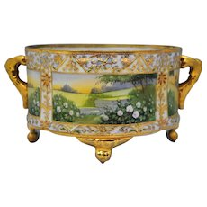 Nippon Hand Painted Scenic Ferner Jardiniere or Planter with Jewel Decoration