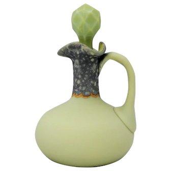 Victorian Art Glass New England Green Opaque Cruet