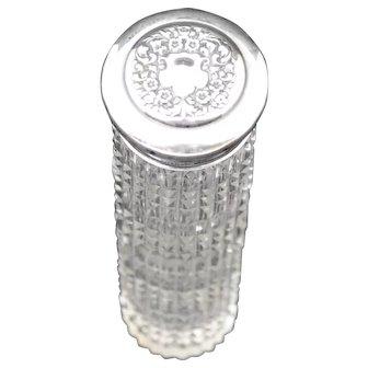 Cut Glass Vanity Jar with Sterling Silver Lid