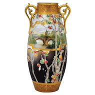 Nippon Scenic Decoration Vase with Raised Gold