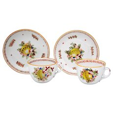 Pair of 19th Century English New Hall Porcelain Shell & Sea Weed Cup & Saucer