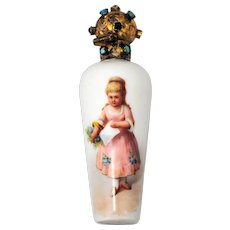 Victorian Era Porcelain Scent or Perfume Bottle with Jeweled Top