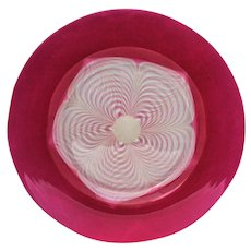Durand Cranberry Glass Pulled Feather 8 inch Diameter Plate #2