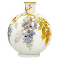 Smith Brothers Mt Washington Victorian Art Glass Flask Shape Vase Wisteria Decoration