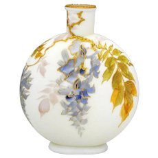 Smith Brothers Victorian Art Glass Flask Shape Vase Wisteria Decoration