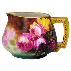 JPL Limoges France Hand Painted Lemonade Pitcher with Red Pink & Yellow Roses