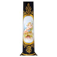 French Sevres Style Candlestick Shape Electric Lamp