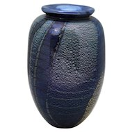 Robert Eickholt Blue and Gold Contemporary Art Glass Vase 1989