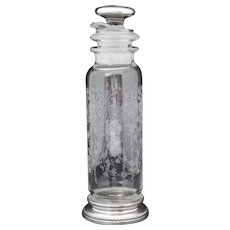 Heisey Orchid Cocktail Shaker with Sterling Silver Mounts and Overlay Stopper
