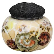 Mt Washington Victorian Art Glass Mellon Ribbed Biscuit Jar