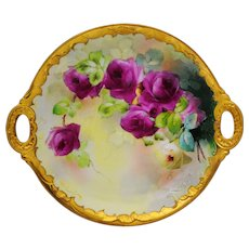 Hand Painted Pickard 2 Handle Plate Rose Decoration